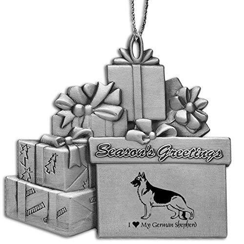 - Pewter Gift Package Ornament-I love my German Shepherd-Silver