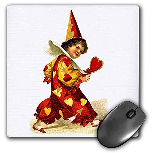 3dRose VintageChest - Valentine - Ellen Clapsaddle - Valentine Harlequin with Heart - Mousepad (mp_303230_1) ()