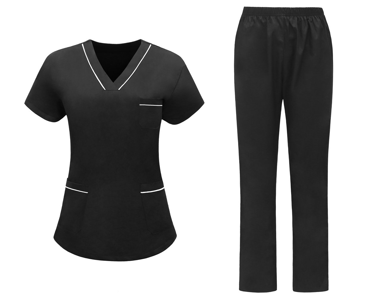 AURNEW Women's Quality Scrub Sets: Slim Fit Medical Uniforms for Women (Black, M)