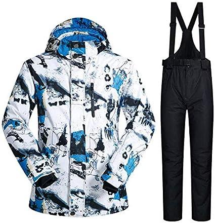 QUETHIKK Tuta da Sci da Uomo Nuova Giacca da Snowboard Invernale da Uomo Impermeabile Calda Antivento Traspirante Traspirante e Pantaloni Set da Snowboard Marche