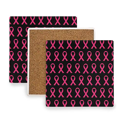 Breast Cancer Ribbon Pink Ceramic Coasters for Drinks,Square 4 Piece Coaster Set