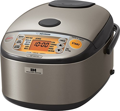 Zojirushi NP-HCC10XH Induction Heating System Rice Cooker and Warmer, 1 L, Stainless Dark Gray (Renewed)