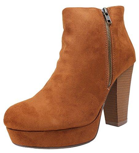 SODA Women's Annie Faux Suede Zipper Chunky Heel Ankle Bootie, Hazel, 8.5 M US Brown