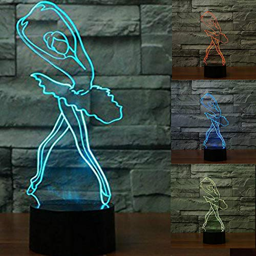 (3D Ballerina Ballet Girl Night Light Touch Switch Decor Table Desk Optical Illusion Lamps 7 Color Changing Lights LED Table Lamp Xmas Home Love Brithday Children Kids Decor Toy Gift)