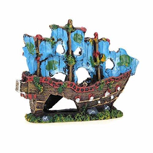 Aquarium Fishing Ornament (Fish Tank Fish Bowl Accessories,Resin Fishing Boat Aquarium Ornament Plastic Decoration Plant)