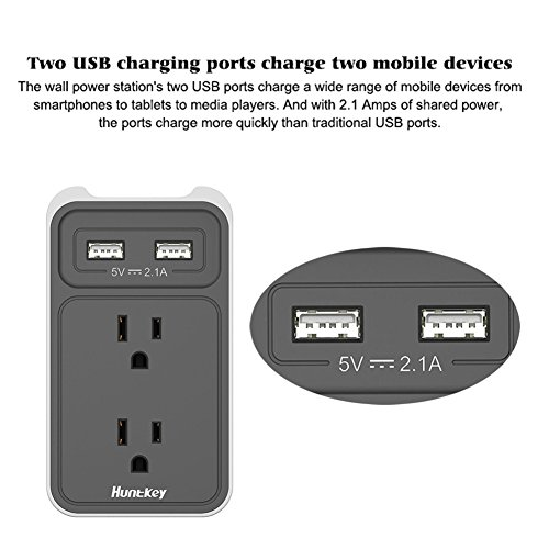 Large Product Image of Huntkey 2-Outlet Wall Mount Cradle with Dual 2.1 AMP USB Charging Ports, SMD407