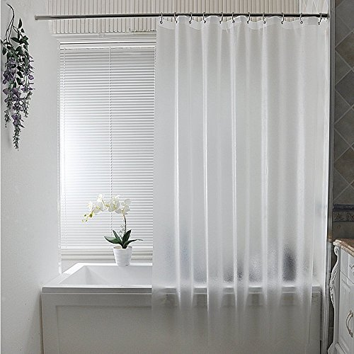 Shower Curtain, Wekity PEVA Eco Friendly Thickening Waterproof /Water-Repellent and Mildew Proof Curtain translucent Pure white Bathroom Curtains with Metal Grommets and Plastic Buckles - 70X70 Inches