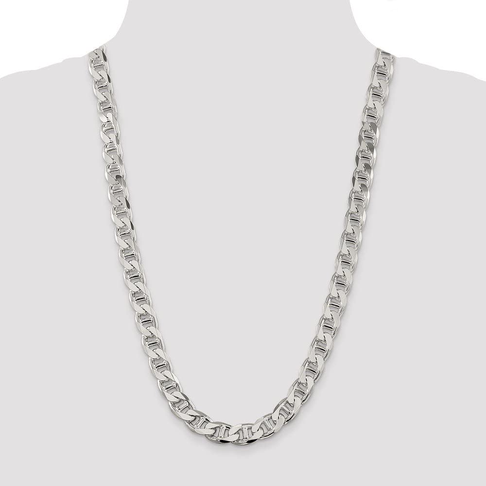 925 Sterling Silver 10.6mm Beveled Curb Chain Necklace