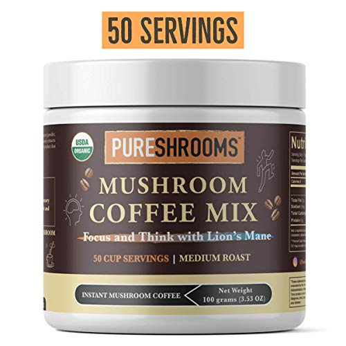 PureShrooms Focus Think Mushroom Coffee, with Organic Lion s Mane. FOCUS, MEMORY, MOOD CREATIVITY -Vegan, KETO Friendly Focus Think Mushroom Coffee, 50 SERVINGS