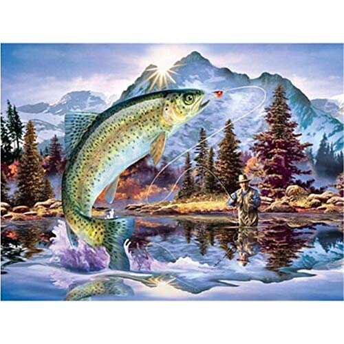 LIPHISFUN Diamond Painting Kits Full Square Drill 5D DIY Painting Kits for Adults Unfinished Embroidery Kits Christmas Home Decor Gift,Fishing,30x40cm,12x16