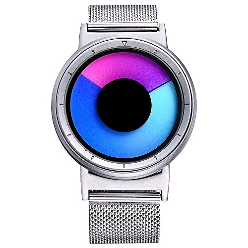 Changing Color Watch (SK Creative Watches for Women Glow at Night Stainless Steel Luminous Rotating Watch Dial Best Gift for Women (Purple Sliver))
