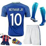 Soccer Kids 2016/2017 Brazil #10 Neymar Jr Away Jersey Football Soccer Kit Kids Sportwear & Shorts & Socks &Key Chain &Face Cloth 3-12 YRS (5-6 years)