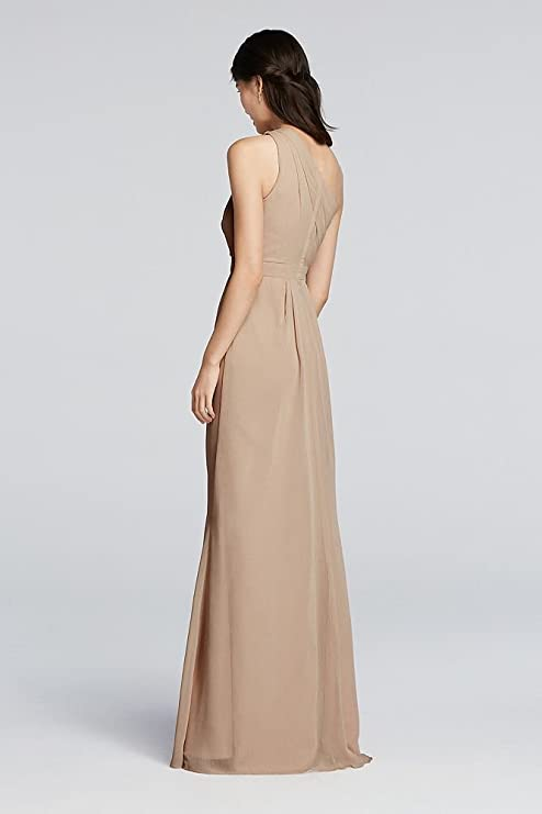 David\'s Bridal Long Chiffon Bridesmaid Dress with Asymmetric ...
