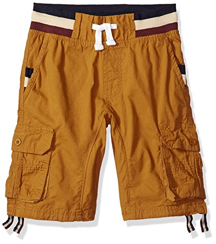 Southpole Big Boys' Twill Cargo Jogger Shorts in Basic Solid Colors, Wheat Stripe, Large - Boys Carpenter Shorts