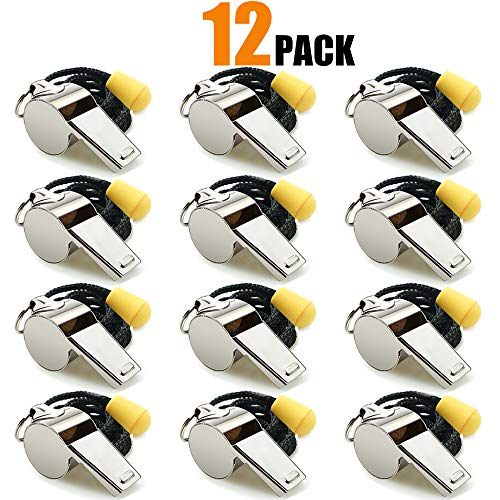 Hipat Whistle, 6 Pack Stainless Steel Sports Whistles with Lanyard, Loud Crisp Sound Whistles Bulk Great for Coaches, Referees, and Officials (12PCS Stainless Steel Whistles)