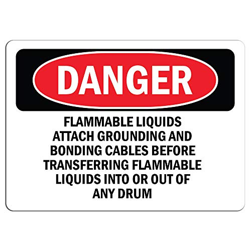 Grounding Flammable Liquids - Danger - Flammable Liquids Attach Grounding and Bonding   Label Decal Sticker Retail Store Sign Sticks to Any Surface 8