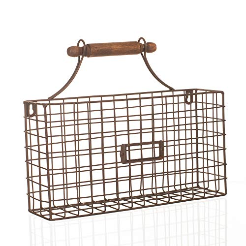 Catchall With Handle Silver Tone 13 x 11 Rustic Metal Kitchen Hanging Basket