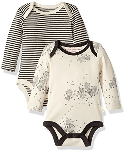 Burt's Bees Baby Baby Set of 2 Organic Long Sleeve Bodysuits, Starscape, 12 Months