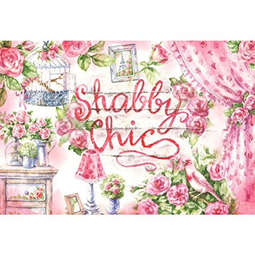 (Laeacco 10x7ft Shabby Chic Wall Painting Vinyl Photography Backdrop Art Design Wedding Photo Background Pink Flowers Curtain Green Leaves Birdcage Pot Plant Photo Frame Table Lamp Newlywed Portraits)
