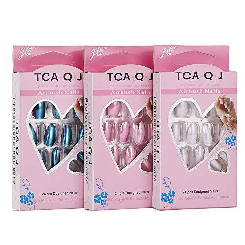 N-Fasion 72Pcs Full Cover Stiletto Chrome Nail Tips Metallic Mirror Effect false Nails Acrylic Art Nails Tips for women