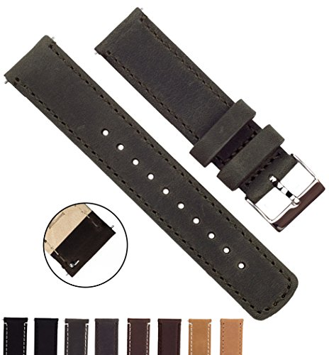 BARTON Quick Release Top Grain Leather - Choice of Colors & Widths (18mm, 20mm or 22mm) - Espresso (Dark Brown) 20mm Watch Band