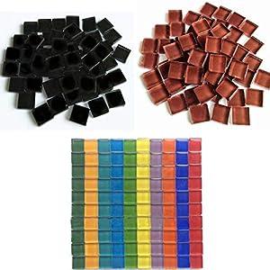 Jicyor Mosaico Vetroso, 480 Pezzi Misti Colore Cristallo Quadrato Vetro Luminoso Artigianato Tessere Mosaico Set per DIY… 51vlnsEVgLL. SS300