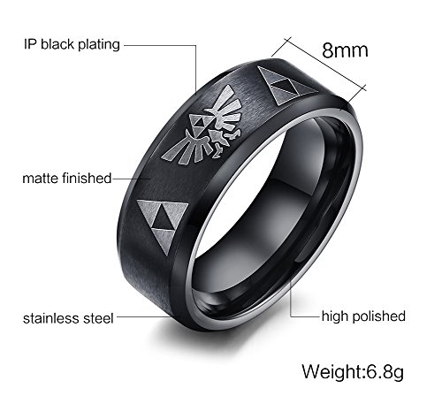 Anillo de acero inoxidable VNOX The Legend of Zelda Triforce, negro, talla 9