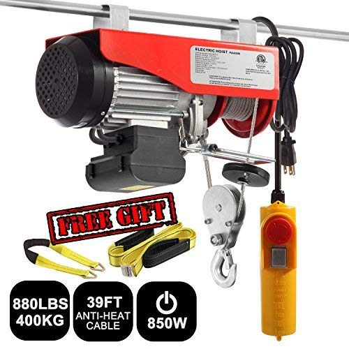 Partsam 880 lbs Lift Electric Hoist Crane Remote Control Power System, Zinc-Plated Steel Wire Overhead Crane Garage Ceiling Pulley Winch w/Premium Straps (120V/850W/8.2A/60Hz)