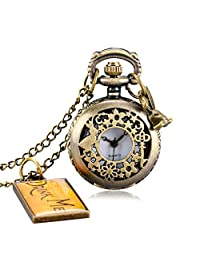 Pocket Watches Small Alice's Adventures in Wonderland Quartz Necklace Pocket Watch with Hangtag, Gift for Men