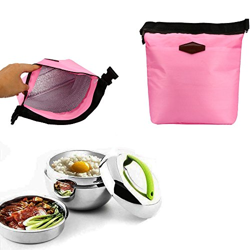 HighlifeS Lunch Bag Waterproof Thermal Fashion Cooler Insulated Lunch Box More Colors Portable Tote Storage Picnic Bags (Pink) by HighlifeS (Image #6)