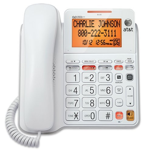 AT&T CL4940 Corded Standard Phone with Answering System and Backlit Display, White (Renewed) by AT&T