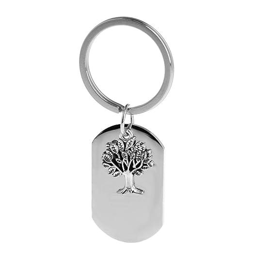 Burane Jin Llavero Silver Fashion Men Life Tree Keys Llavero de ...