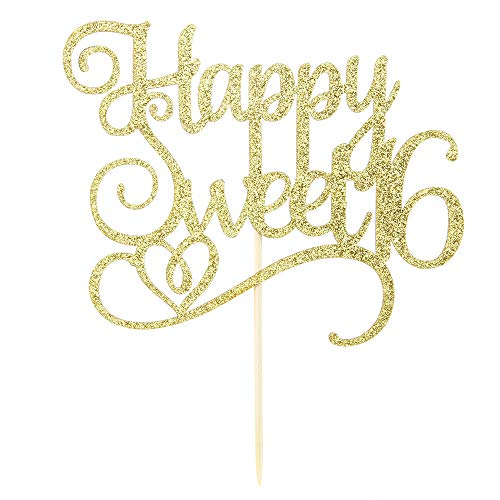 - Gold Glitter Happy Sweet 16 Cake Topper, Birthday Party Decorations Supplies