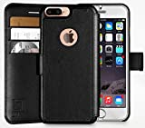 iPhone 7 Plus Wallet Case | Durable and Slim | Lightweight with Classic Design & Ultra-Strong Magnetic Closure | Faux Leather| Black | Apple 7 Plus (5.5 in)