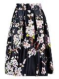 Choies Black Sakura Skater Skirt With Pleat One size
