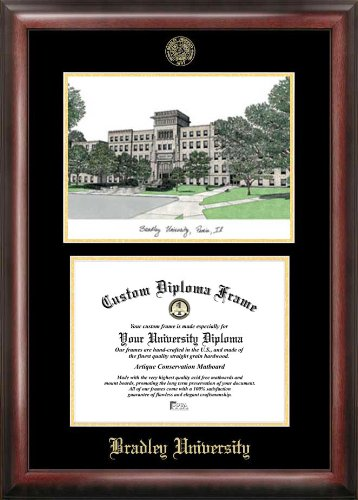 """Campus Images IL999LGED Bradley University Embossed Diploma Frame with Lithograph Print, 8.5"""" x 11"""", Gold"""