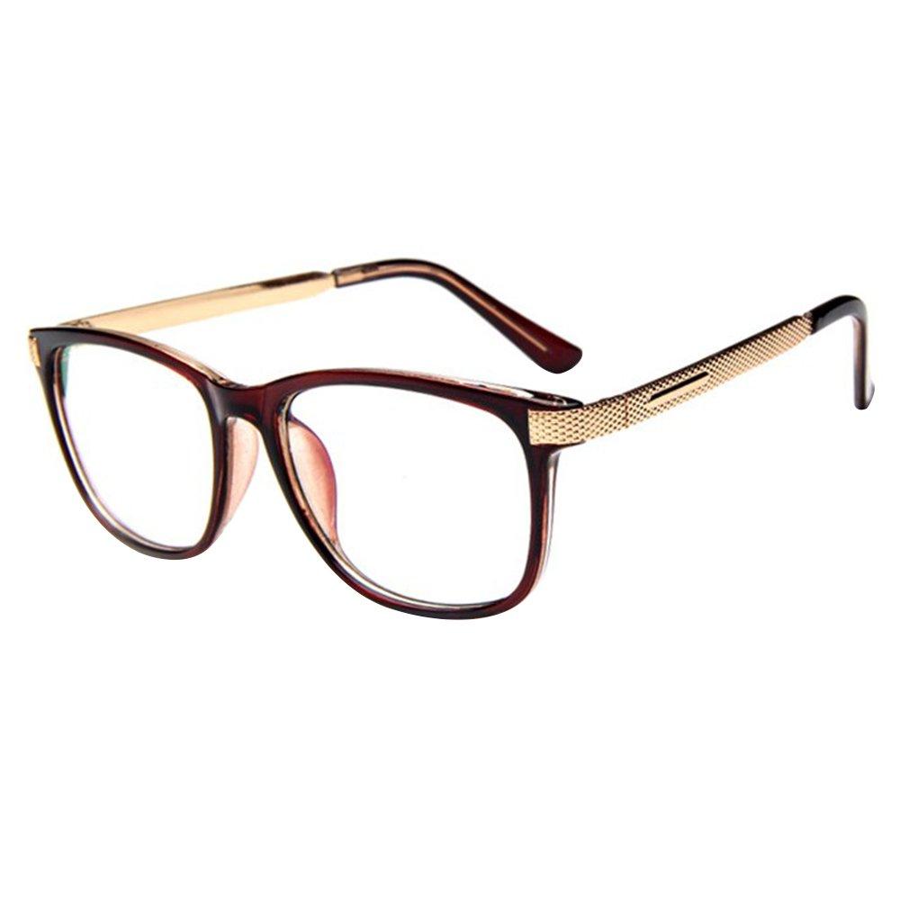 forepin Brille Metall reg; Klare Linse Brille Klassisch Damen Fensterglas Ohne Stärke Nerdbrille Metallgestell Brillenfassung mit Nasenpad und Federbügelscharnier Farbe 04