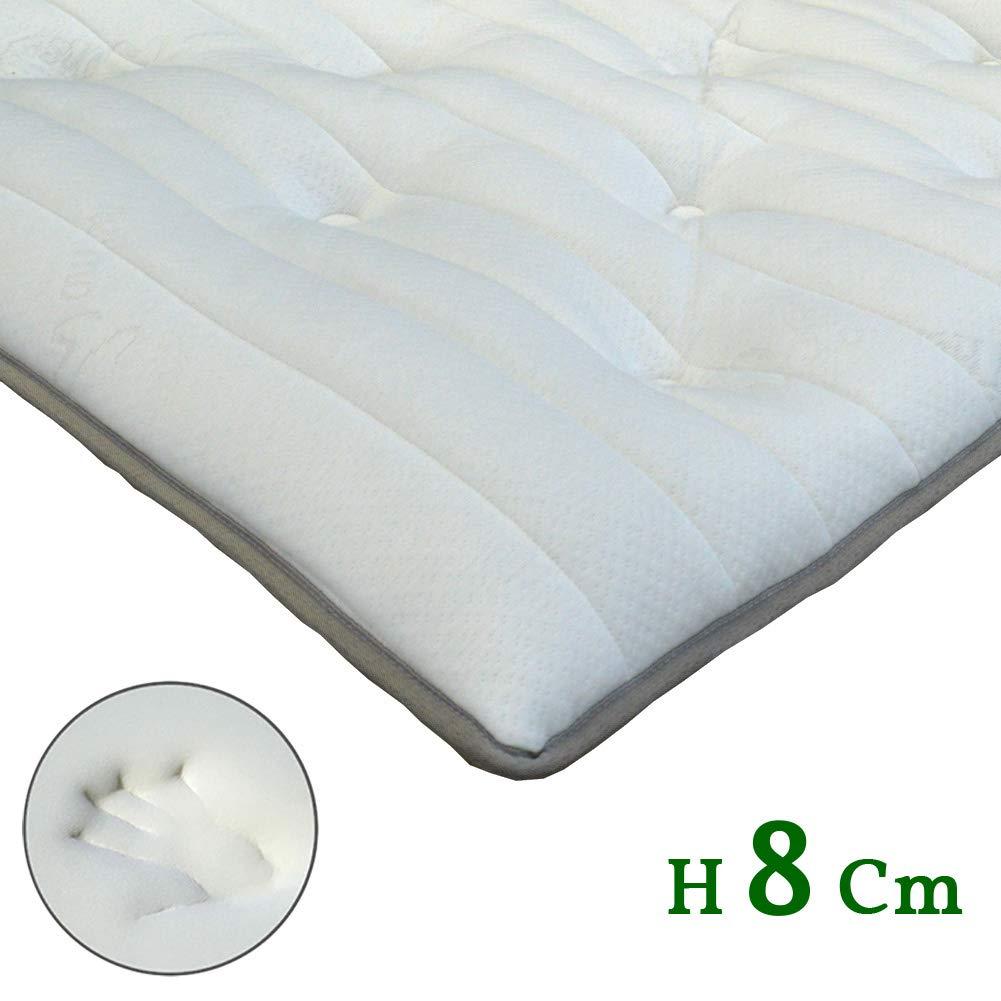 TOPPER NIGHT H8 cm con tessuto Termoregolatore in Fiocco Memory foam effetto Piuma Oca avvolgente CORRETTORE per MATERASSO o Sovramaterasso singolo 80x190