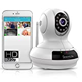 SereneLife Wireless IP Camera - High Definition HD 720p Wifi Cloud Cam for Indoor Home Security Surveillance Video w/ Night Vision - Remote Control PTZ Pan Tilt from Mobile or PC Mac - IPCAMHD61 White