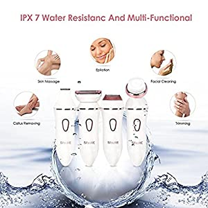 Spaire Ladies Shaver Women Shaver Electric 4 in 1 Lady Hair Remover kit Facial Cleaning Brush IPX7 Waterproof Cordless Rechargeable Use Wet or Dry Ladies Shaver Electric best gift for lady