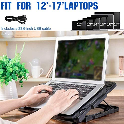 Pccooler Laptop Cooling Pad, Portable Laptop Stand with 6 Angle Adjustable & 5 Quiet Blue LED Fans for 12-17.3 Inch Gaming Laptop, Laptop Cooler Built-in Dual USB Ports Support Mouse Device, Keyboard 51vlpjDnWdL
