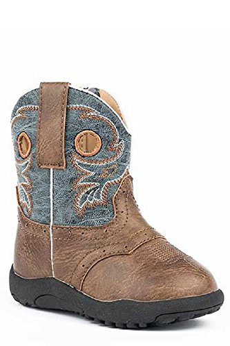 Roper Infant Baby Boys Size 3 (6-9 Months) Daniel Marbled Blue Shaft Distressed Brown Leather Cowboy Boots