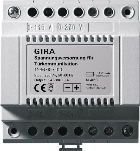 Gira 129600 Zusatz-Spannungsversorgung f/ür T/ürkommunikation 24V DC 300mA