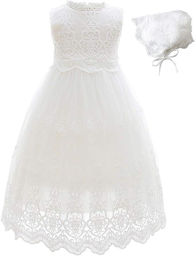 Amazon.com: Slowera - Vestido de encaje blanco para bautizo ...