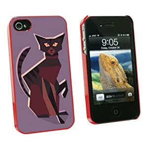 Graphics and More Geometric Cat Dark Brown - Snap On Hard Protective Case for Apple iPhone 4 4S - Red - Carrying Case - Non-Retail Packaging - Red