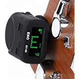 eno ET-09 Clip on Guitar Tuner for Acoustic, Electric, Bass Guitars and Ukulele, Headstock Tuner, Black …