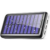Banco de energía solar,BERNET Solar Power Bank 24000 mAh Dual USB cargador de batería solar Batería cargador rápido paquete de batería externa Solar Cargador de teléfono para teléfono celular Android cámara