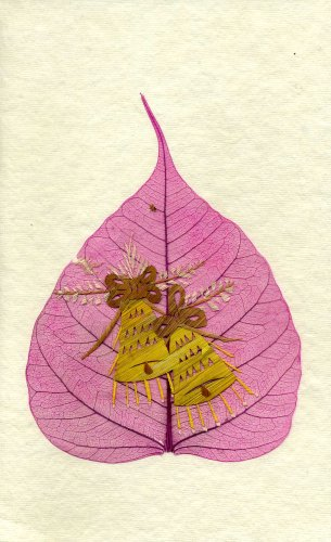 Handmade Greeting Card - Bells - Artwork on Pipal Leaf