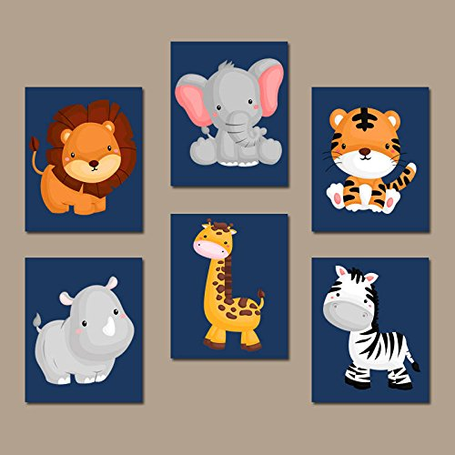 Animal Themes Nursery - JUNGLE Animal Wall Art Baby Boy Animal Nursery Decor Safari Animals Boy Bedroom Canvas or Prints Zoo Theme Set of 6 Playroom Decor