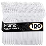 Framo Clear Plastic Forks, 100 Count, Disposable